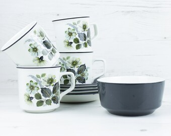 Vintage Johnson Brothers Teacup Saucer Sugar Bowl - Grey Wildmoor Floral Flower