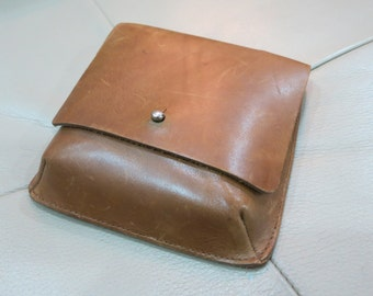Sale Was 22 - 90s Vintage Full Leather Brown Camel Color Waist Pouch/Bag by ESPRIT -tools pouch,loops for belting up - OOAK, UNISEX, utility