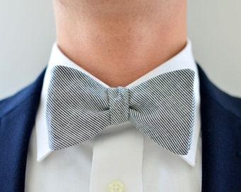 Men's Bow Tie in Navy Pin Stripe- freestyle wedding groomsmen custom bowtie neck self tie cotton navy white stripes pinstriped