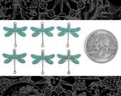 Aqua Copper Smaller Ornate Dragonfly Two Ring Connectors Set of Six   V-2C12