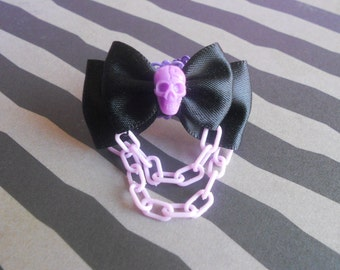 Pastel goth skull ring purple