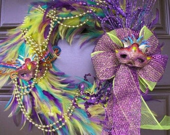 Mardi Gras Feather Wreath - FREE SHIPPING - Purple Yellow and Green Mardi Gras New Orleans Feather Wreath, Fat Tuesday Feather Wreath