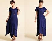 Bush lily/ Asian Style Two Layered  Linen Long Dress with Asymmetrical Hems /Short Sleeve/ 25 Colors/ RAMIES