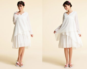 Calla Lily/ Lovely Asymmetrical Three Layered  Linen Dress with Long Sleeve / 12 Colors/ RAMIES