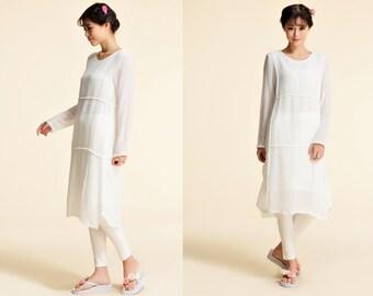 Baby's Breath/ Asymmetrical Silk Dress With Folds/ Pleated Tunic / 21 Colors/RAMIES