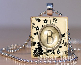 NEW - Monogram Initial Necklace - Black and Ivory Floral Typewriter Key - Scrabble Tile Pendant with Chain