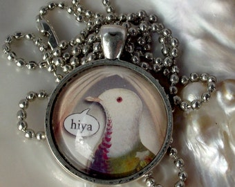 SALE. Sweet talking bird pendant necklace. Hiya bird necklace. Antique silver frame and chain. Greetings phrase