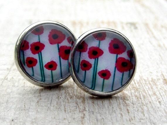 sale poppy stud earrings ruby poppies stud by