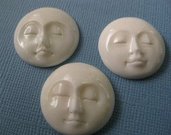 Three hand carved bone faces, cabachons, moons, goddess, you decide 25 mm lot wholesale