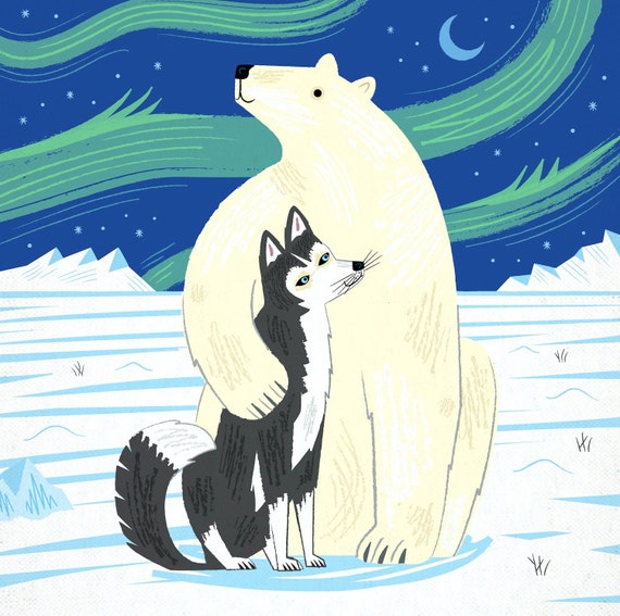 The Polar Bear and The Husky - Children's Art - Nursery Art - Nursery Decor - Limited Edition Art Poster Print - iOTA iLLUSTRATiON
