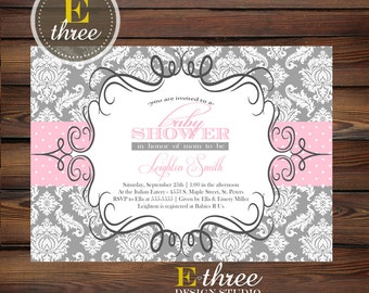 Pink and Gray Baby Girl Shower Invitation - Damask Baby Shower Invitations - Girl's Shower Invite