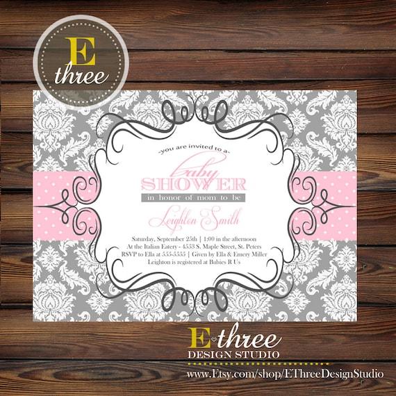 Printable Baby Shower Invitation - Girls Gray and Pink Damask Baby Shower Invitation - Damask Shower Invitaiton