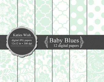 Instant Download Baby Blues Digital Paper Kit 12x12 inches 300dpi Instant Download files for digital scrapbooking, invites, web design