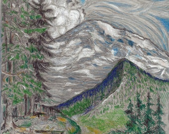 Clouds blowing the Wind at Mt Rainier - Colored Pencil