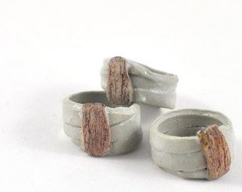 Ceramic Ring Stoneware Handmade Jewellery Unisex White Organic Gift for Him or Her in Gift Pouch