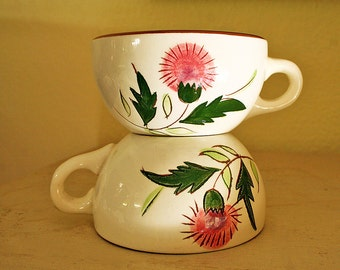 Two Stangl Thistle Coffee Tea Cups Mid Century Modern Beautiful Inside and Out