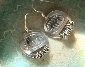 Go-Tribal Earrings - PMC- Fine Silver Shaman Earrings