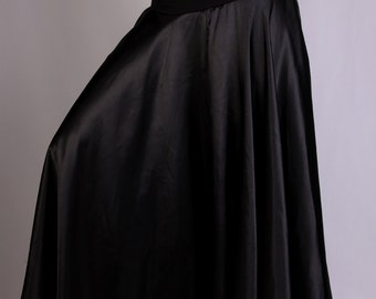Claire Long Skirt in black satin and black lycra