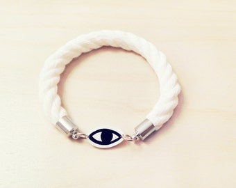 Anti Evil Eye Hipster Amulet / Talisman Rope Bracelet - Made to Order