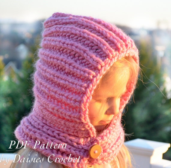 Knitting Pattern For Knit Scarf Cowl Or Neck Warmer : Knitting Hooded Cowl PATTERN. Knit scarf. Knit neck warmer