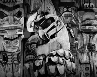 Totem Poles in Stanley Park Composite in Vancouver British Columbia Canada No.06BW a Black & White Fine Art Pacific Northwest Photograph