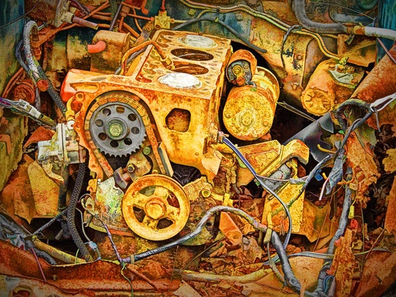 Auto Engine Block From a Wrecked Abandoned Car in Ontario Canada An Abstract Fine Art Car Photograph