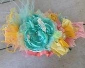 My Summer Crush headband by Cozette Couture mint aqua flower matilda jane mustard pie joyfolie flower headband