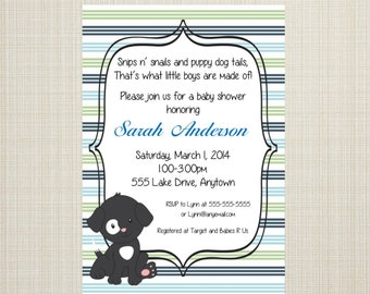 Stripped Puppy Baby Shower Invitation -  Many Puppy Options - You Print