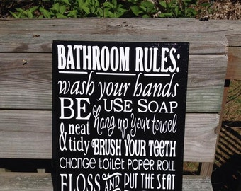 "Bathroom Rules Black and White Hand Painted on 12""x16"" Canvas FREE SHIPPING"