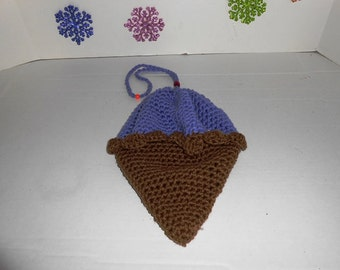 Black Raspberry Ice Cream Cone Purse  hand crochet by kams-store.com