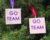 Purple GO TEAM Tean in Training Tile Ornament