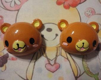 Kawaii brown bear cabochons decoden deco diy charm   2 pcs  USA seller