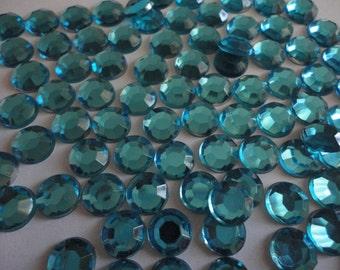Kawaii ocean blue rhinestones decoden deco diy   8 mm  more than 50 pcs---USA seller