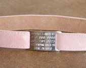 Leather Custom Tag Collar for Greyhounds - Shiny Shell Pink