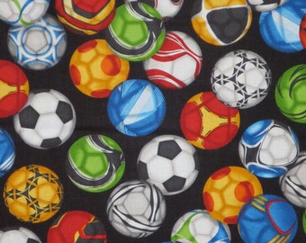 Colorful Allover Soccer Ball Print Pure Cotton Fabric--One Yard
