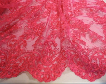 REMNANT--Rich Fuchsia Embroidered Tulle Fabric--One Yard