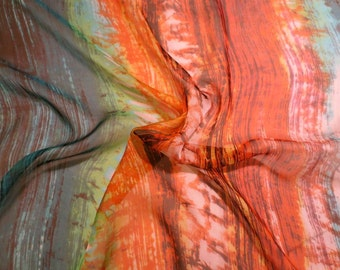 Orange and Teal Tie Dye Effect Pure Silk Chiffon Fabric--One Yard
