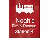 Custom Fire & Rescue Art Print, Typography, Kids Furniture and Decor, Boys Room, Firetruck, Fireman, Red Fire Truck, Firehouse, Fire station