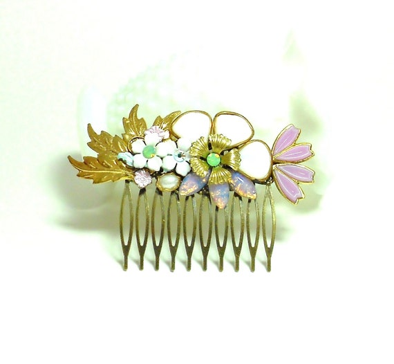 Vintage Garden Wedding Heirloom Hair Comb - Floral Hair Comb - Assemblage Jewelry Hair - Reclaimed Vintage - Jeweled Hair Comb