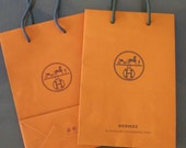 Authentic Like New HERMES Small Paper Bag, Gift Bag, Carrier with signature logo - 8.5 x 6 inches - Singapore - just obtained in 2016
