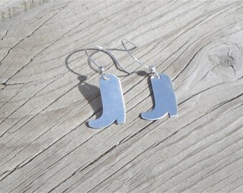 Cowboy Boot Sterling Silver Earrings - Gifts for Her