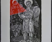 ANGEL WITH FLOWER. Original linocut on fine oriental paper by California printmaker and painter Igor Koutsenko. Original, not a reproduction