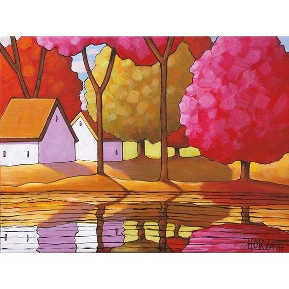 PAINTING ORIGINAL Folk Art Acrylic on Canvas Tree Color River Cottages Modern Abstract Landscape Scenic Contemporary Artwork Horvath 12x16
