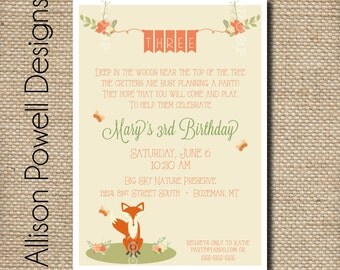 Woodland Animal Birthday or Baby Shower Invitation- Enchanted Forest  Birthday Party Invitation - Print your own
