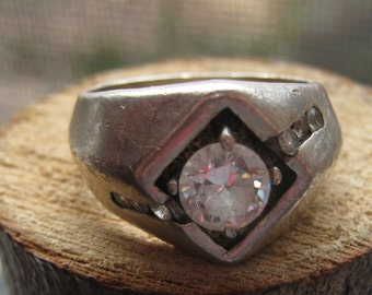 Vintage Sterling Silver Mens Ring with Rhinestones RETRO Item Size 9