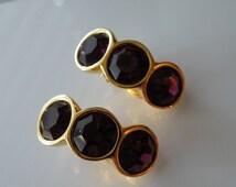 Vintage Amethyst crystals Swarovski clip-on earrings. SAL.1980s
