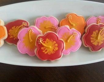 Mini Aloha Hawaiian Hibiscus Sugar Cookies