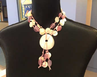 Pink Beads & Nacre Necklace