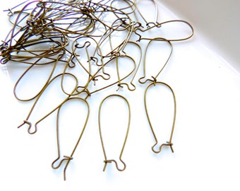 Antique Bronze Kidney Ear Wires - Antique Bronze Earring Connectors Wire - 10 Pcs - Ships from USA - Antique Bronze Kidney Earwire hooks