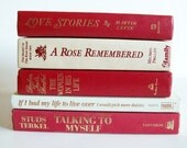 Vintage Book Collection Home Decor Instant Library Set of 5 Books Red and Ivory Photo Prop Shelf Display Wedding Decor